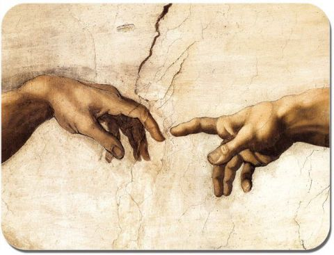 The Creation of Adam/Man Hands Michelangelo Mouse Mat Quality Fine Art Mouse Pad